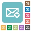 Marked mail flat icons on simple color square background. - Marked mail square flat icons