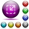 Resize element color glass sphere buttons with shadows. - Resize element glass sphere buttons