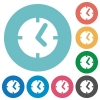 Clock white flat icons on color rounded square backgrounds - Clock flat icons