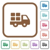 Transport simple icons - Transport simple icons in color rounded square frames on white background