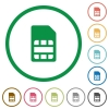 SIM card flat icons with outlines - SIM card flat color icons in round outlines