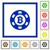 Bitcoin casino chip flat framed icons - Bitcoin casino chip flat color icons in square frames