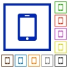 Smartphone flat framed icons - Smartphone flat color icons in square frames