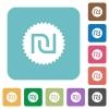 Israeli new Shekel sticker flat icons on simple color square background. - Israeli new Shekel sticker square flat icons