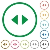 Horizontal control arrows flat color icons in round outlines - Horizontal control arrows flat icons with outlines