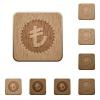 Turkish Lira sticker wooden buttons - Turkish Lira sticker icons in carved wooden button styles
