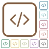 Programming code simple icons - Programming code simple icons in color rounded square frames on white background