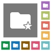 Rank folder square flat icons - Rank folder flat icons on simple color square background.