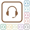 Headset simple icons - Headset simple icons in color rounded square frames on white background