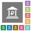 Ruble bank square flat icons - Ruble bank flat icons on simple color square background.