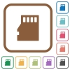 Micro SD memory card simple icons - Micro SD memory card simple icons in color rounded square frames on white background