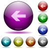 Left arrow glass sphere buttons - Left arrow color glass sphere buttons with shadows.