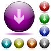 Down arrow glass sphere buttons - Down arrow color glass sphere buttons with shadows.