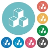Cubes flat icons - Cubes white flat icons on color rounded square backgrounds