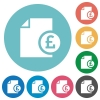 Pound report flat icons - Pound report white flat icons on color rounded square backgrounds