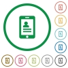Mobile contacts flat icons with outlines - Mobile contacts flat color icons in round outlines