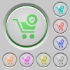 Secure shopping push buttons - Secure shopping color icons on sunk push buttons