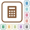Calculator simple icons in color rounded square frames on white background - Calculator simple icons