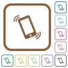 Ringing phone simple icons - Ringing phone simple icons in color rounded square frames on white background
