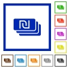 New Shekel banknotes flat framed icons - New Shekel banknotes flat color icons in square frames