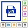 BIN file format flat framed icons - BIN file format flat color icons in square frames