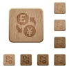 Pound Yen exchange icons in carved wooden button styles - Pound Yen exchange wooden buttons