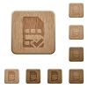 SIM card accepted wooden buttons - SIM card accepted icons in carved wooden button styles