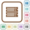 Rack servers simple icons in color rounded square frames on white background - Rack servers simple icons