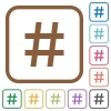 Hash tag simple icons - Hash tag simple icons in color rounded square frames on white background