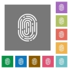 Fingerprint square flat icons - Fingerprint flat icons on simple color square background.