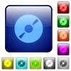 DVD disk color square buttons - DVD disk color glass rounded square button set