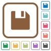 Save simple icons - Save simple icons in color rounded square frames on white background