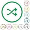 Media shuffle flat icons with outlines - Media shuffle flat color icons in round outlines