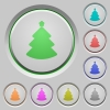 Christmas tree push buttons - Christmas tree color icons on sunk push buttons