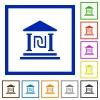 Israeli new Shekel bank flat framed icons - Israeli new Shekel bank flat color icons in square frames