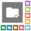 Folder ok square flat icons - Folder ok flat icons on simple color square background.