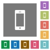 Cellphone square flat icons - Cellphone flat icons on simple color square background.