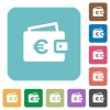 Euro wallet square flat icons - Euro wallet flat icons on simple color square background.