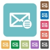 Mail options flat icons on simple color square background. - Mail options square flat icons