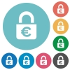 Locked euros flat icons - Locked euros white flat icons on color rounded square backgrounds