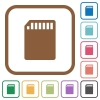 SD memory card simple icons - SD memory card simple icons in color rounded square frames on white background