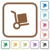 Hand truck simple icons - Hand truck simple icons in color rounded square frames on white background