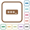PIN code simple icons - PIN code simple icons in color rounded square frames on white background