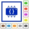 Hardware programming flat framed icons - Hardware programming flat color icons in square frames