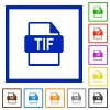 TIF file format flat color icons in square frames - TIF file format flat framed icons