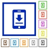 Mobile download flat framed icons - Mobile download flat color icons in square frames