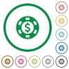 Dollar casino chip flat icons with outlines - Dollar casino chip flat color icons in round outlines