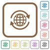 International simple icons - International simple icons in color rounded square frames on white background