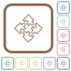 Puzzle pieces simple icons - Puzzle pieces simple icons in color rounded square frames on white background