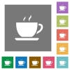 Coffee square flat icons - Coffee flat icons on simple color square background.